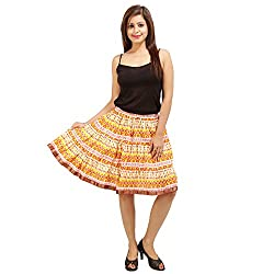 Stylish Multicolor Cotton Knee-Length Printed Skirt