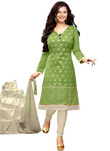 M-Fab-Ethnic-Embroidered-And-Printed-Parrot-Green-Chanderi-Cotton-Free-Size-Straight-Chudidar-Salvar-Suit-UnStitched-Dress-Material