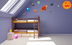 Solar System Bedroom : Colour Solar System Planets Earth Sun Graphic Kids Boys Girls Bedroom ...