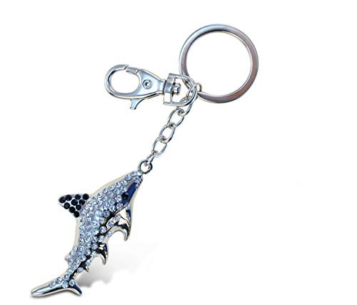 Puzzled Shark Sparkling Charm Keychain