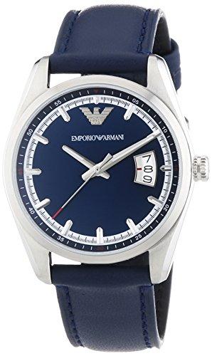 Emporio Armani AR6017 - Reloj de cuarzo para hombre, correa de cuero color azul