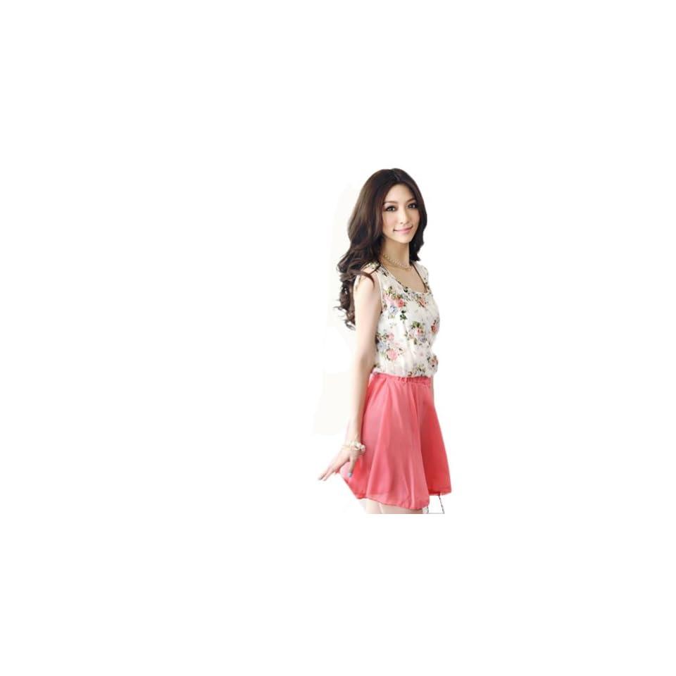 Uoften Sweet Women Girl Floral Skirt Chiffon Sleeveless Flower Dress Sundress