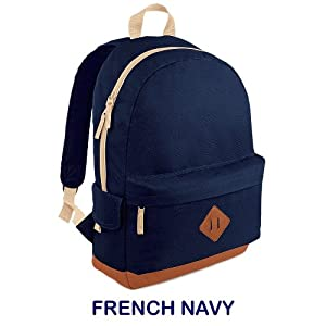 Heritage School Work Uni College Backpack Rucksack Bag Choose Colour (French Navy Blue)