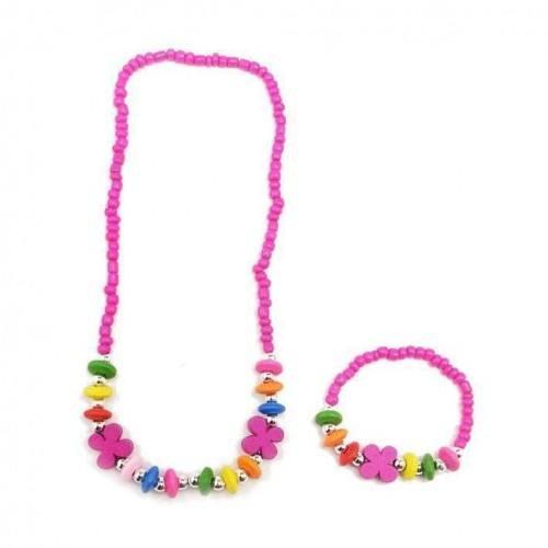 sg paris kid jewelry set kids jewelry set 1 neck+1 brac comb fushia plastic