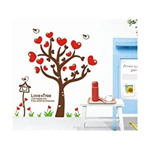 Large Love Tree Red Hearts with Quote Wall Sticker Decal for Kids Room Living Room