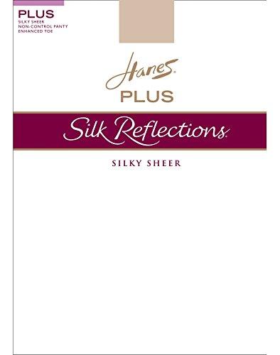 Hanes Womens Set of 3 Silk Reflections Plus Sheer Non-Control Top Enhanced Toe 3P, Travel Buff