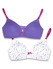 2 Pack Angel Cotton Rich Shooting Star Print Non-Wired AA-C Bras