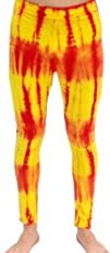 Red and Yellow Tie-Dye Wrestling Legging Tights Pants
