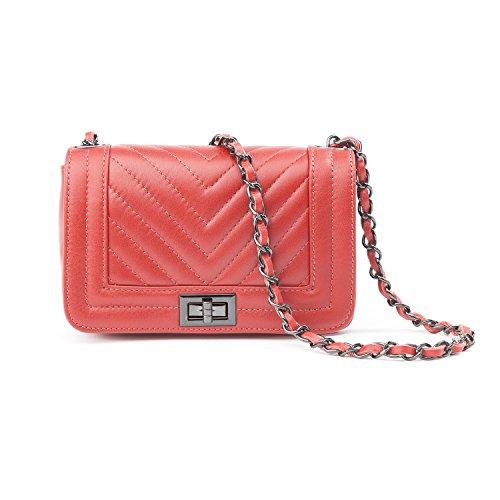 Almo - Borsa in pelle da donna made in Italy, colore: rosso corallo, a tracolla o a spalla