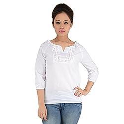EIMOIE Women's Solid Casual Top (White)