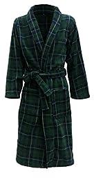 Men\'s Fleece Robe by John Christian - Green and Navy Tartan (XL)