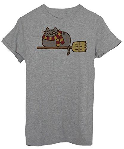 T-Shirt PUSHEEN HARRY POTTER QUIDDITCH - DIVERTENTE - by iMage - Donna-M-Grigia