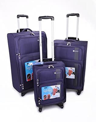 A 3-PIECE SUPER LIGHTWEIGHT FULLY-LINED PURPLE/GREY LUGGAGE CASE SET c/w INTERNAL TROLLEY FRAME, TELESCOPIC HANDLES, 4 SPINNER WHEELS & SECURE BASE STUDS. by COMPASS BAGS