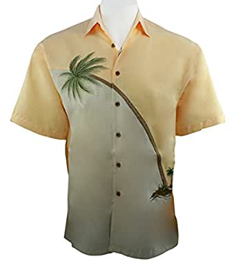 Bamboo cay hurricane palm embroidered tropical style for Bamboo button down shirts