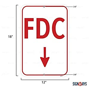 FDC Sign, Includes Holes, 3M Quality Reflective, Aluminum, 12