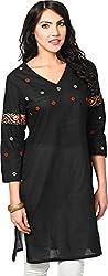 Vedanta Women's Regular Fit Cotton Kurta (SCKAEMB619-BLACK-XXL, BLACK, XX-Large)