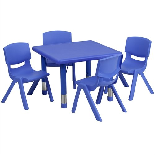 Flash Furniture 24'' Square Adjustable Blue Plastic Activity Table Set with 4 School Stack Chairs [YU-YCX-0023-2-SQR-TBL-BLUE-E-GG] by FF