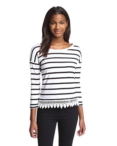 Dex Women's Stripe Top with Lace Hem