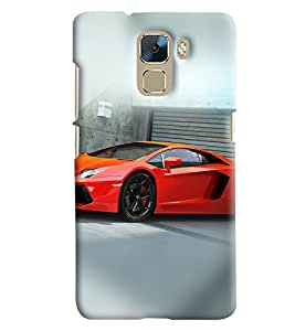 Blue Throat Red Car Printed Designer Back Cover/Case For Huawei Honor 7
