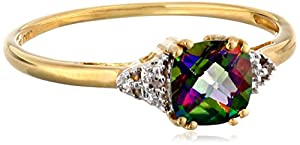 10k Yellow Gold, June BirthStone, Mystic Topaz and Diamond Ring, Size 9