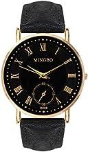 Reloj para mujer, números romanos, correa de piel, estilo cronógrafo, color dorado y negro