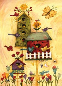 Busy Birdhouse Sun Mini Flag