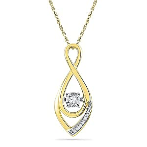 Twinkle Diamond Necklace with Adjustable Chain to 22 inches 1/20 CTW 10k Gold
