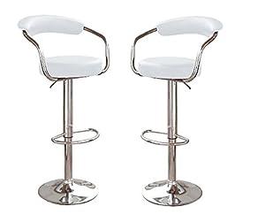Amazon Com Bar Stool White Barstools Adjustable Swivel