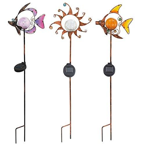 3er set led solar leuchten steck lampen stand beleuchtungen sonne fische dekor steine. Black Bedroom Furniture Sets. Home Design Ideas