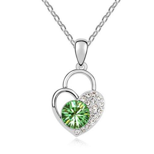 Mqueen Peridot Love Heart Lock Pendant Necklace front-478170