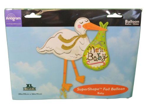 """New Baby"" Stork Bundle Dots Green 39"" Balloon Mylar front-372418"