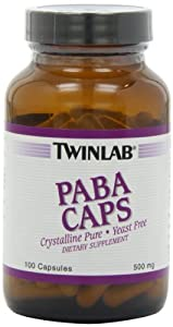 Twinlab PABA Caps 500mg, 100 Capsules (Pack of 3)