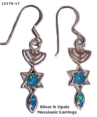 Sterling Silver and Opals Messianic Earrings