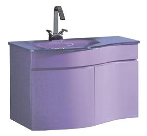 Luxo Marbre Wave 3320 P Wave Vanity With Tempered Glass Sink Purple Bathroom Vanities