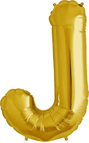 Letter J - Gold Helium Foil Balloon - 34 inch