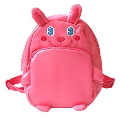 Tangda Kinder Rucksack Unisex Mädchen Jungen Shultertasche Kinderrucksack PU-Leder Kindergartentasche Beutel Tierkarikatur Hase Tasche School Bag - Rosa