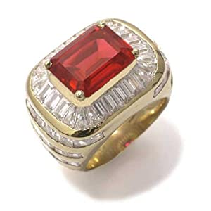 Gioie Women's Ring in Yellow 18k Gold with Red Cubic Zirconia and White Cubic Zirconia, Size 9, 24 Grams