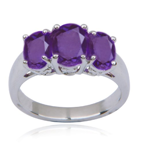 Sterling Silver Amethyst 3-Stone Ring, Size 7