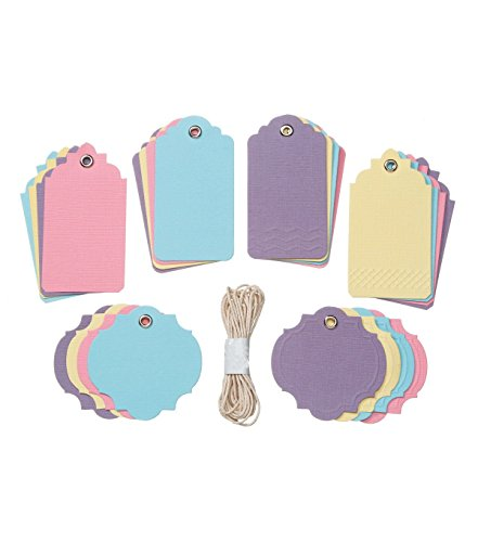 Pastel Assorted Tags Etiquettes Assortment by Core'dinations for Gift Tags, Scrapbooks, Set of 24 Tags