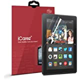 """iCarez® [HD Clear] Highest Quality Premium Screen Protector for Amazon Kindle fire HDX 8.9"""" Tablet High Definition (HD) Ultra Crystal Clear & anti-bacterial & anti-Scratch & bubble-free & reduce fingerprint & No rainbow & washable Screen Protector **PET Film Made in Japan** Easy install & Green healthy Product with Lifetime Replacement Warranty [2 Pack] - Retail Packaging 2014"""