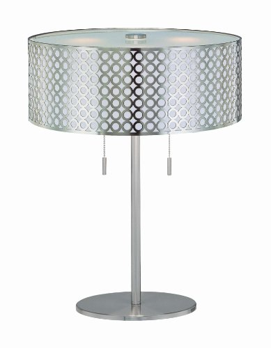 Lite Source LS-21519PS Netto Table Lamp, Polished Steel with Net Metal Shade with White Polished Steel Back