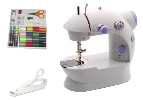 Michley Lil' Sew & Sew LSS-202 Combo Mini Sewing Machine, Electrical Scissors and 42-Piece Sewing Kit