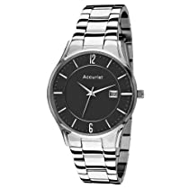 Accurist Gents Stainless Steel Watch with Black Dial