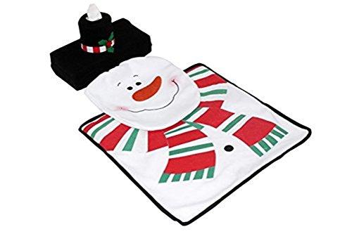 3 Pcs Christmas Decor Santa,Elves,Snowman Toilet Seat Cover & Rug Bathroom Set