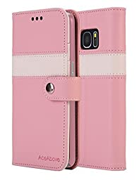 AceAbove Kickstand Feature Wallet Case [Ultra Slim] Premium PU Leather Flip Cover &  Case for Samsung Galaxy S7 (2016) - Pink