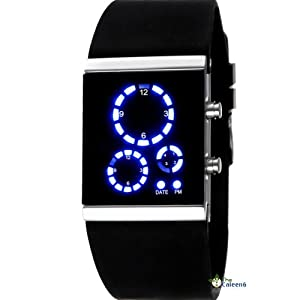 mirror 3 dials digital led sport cool silicone wrist watch