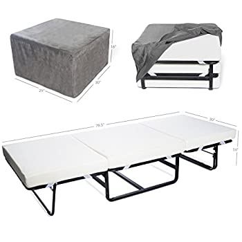 "Milliard Folding Bed Ottoman Single Size with Grey Suede Cover, Guest Hideaway 30x78"" Bed, Dual Use, No Assembly Required"