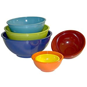 Trudeau Melamine Mixing Bowls, Set of 6