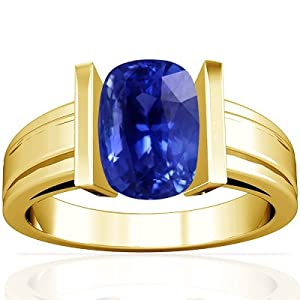 18K Yellow Gold Cushion Cut Blue Sapphire Mens Ring