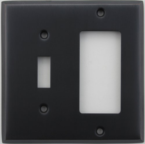 Classic Accents Stamped Steel Oil Rubbed Bronze Two Gang Wall Plate - One Toggle Light Switch Opening One Gfi/Rocker Opening